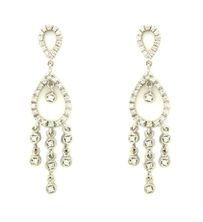 14K White Gold Earrings - Diamond - 0.92 ct.