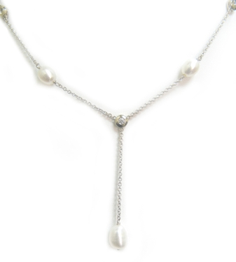 14K White Gold - Pearl - Diamond - 0.63 ct.