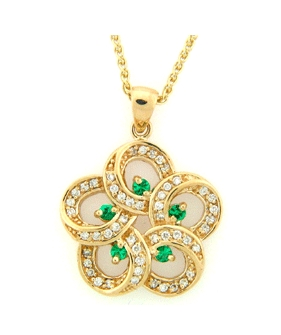 14K Gold Pendant - Diamond - 0.27 ct. - Emerald  - 0.13 ct.