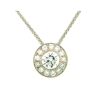14K White Gold, this necklace holds 0.91 ct. of Diamond.